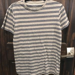 Mens American Eagle Grey T-Shirt With Blue Stripes